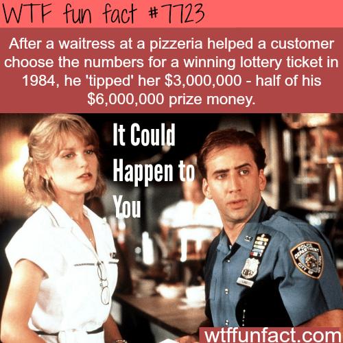 Lottery ticket winner tips a waitress 3 million dollars - WTF fun facts