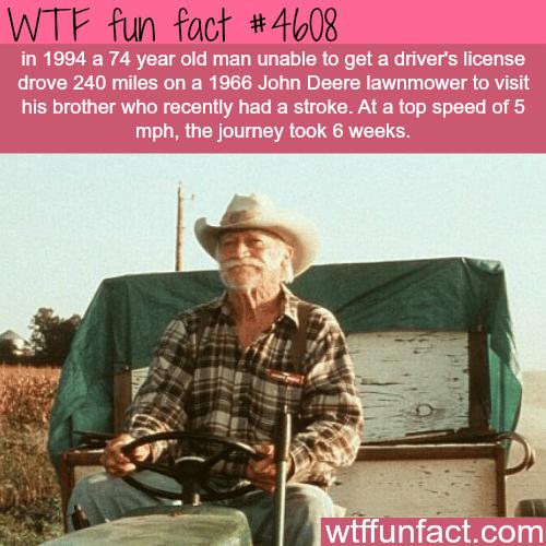 Man drives 240 miles in a John Deere Lawnmower -   WTF fun facts
