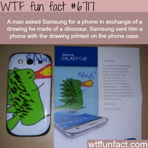 Man exchanges a drawing he made for a Samsung phone - WTF fun fact