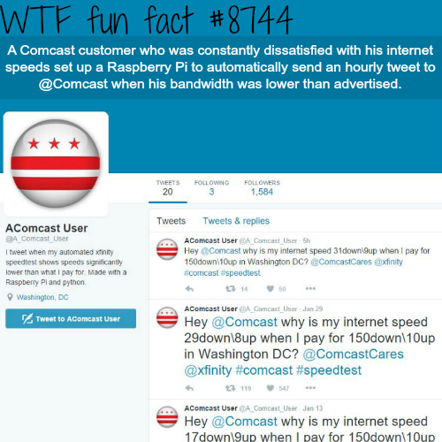 Man sets up a twitter bot to tweet to Comcast - WTF fun facts