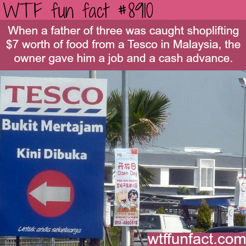 Man was offered a job after being caught shoplifting - WTF fun facts
