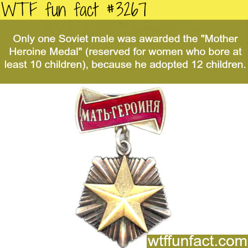 "Man wins ""Mother Heroine"" metal -WTF fun facts"