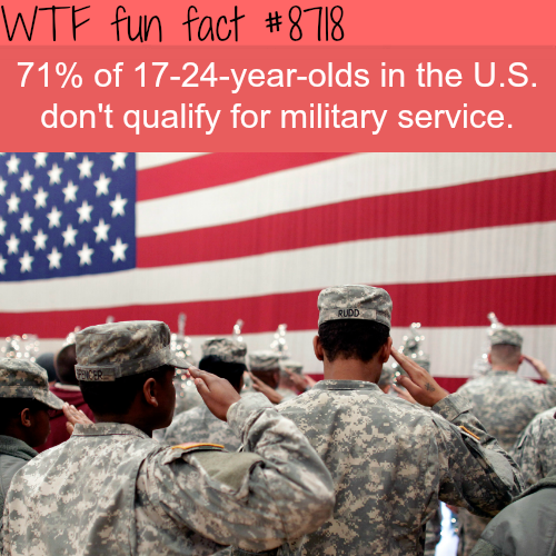 Many 17-24-year-olds in the U.S. don't qualify for military service - WTF fun facts