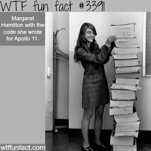 Margret Hamilton with the code for Apollo 11 -  WTF fun facts