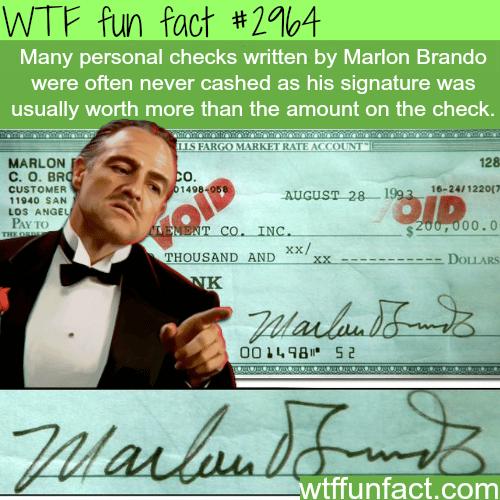 Marlon Brando signature -WTF fun facts