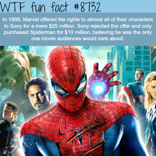 Marvel tried to sell the rights to all of their characters to sony - WTF fun facts