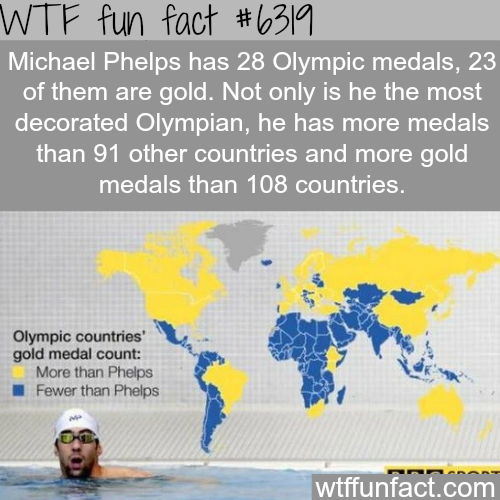 Michael Phelps has more gold medas than 100 country - WTF fun facts