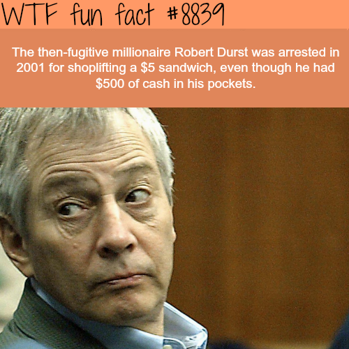 Millionaire got caught stealing a $5 sandwich - WTF fun facts