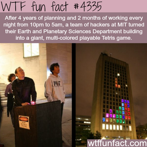 MIT hackers turned a building into a giant Tetris game -  WTF fun facts