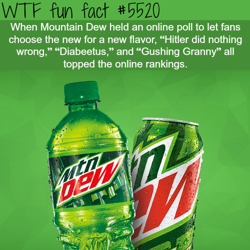 Mountain Dew's online poll - WTF fun facts