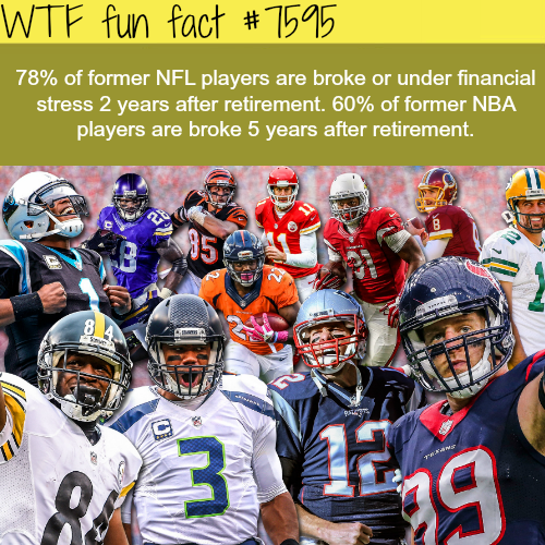 NFL players are likely to go broke after retirement - WTF fun fact