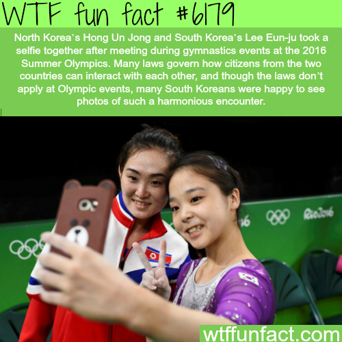 North and South Korean Olympic participants take selfie together - WTF fun facts