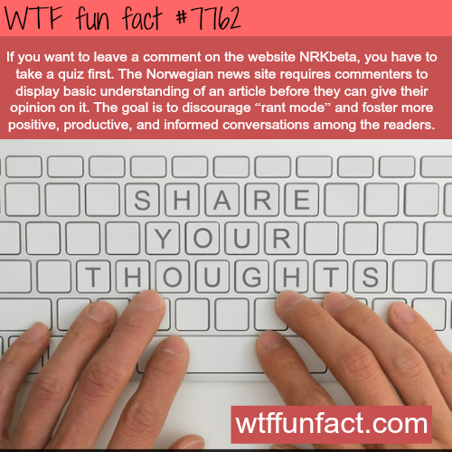 Norwegian website doesn't let everyone to leave comments - WTF fun fact
