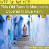 old town in morocco covered in blue