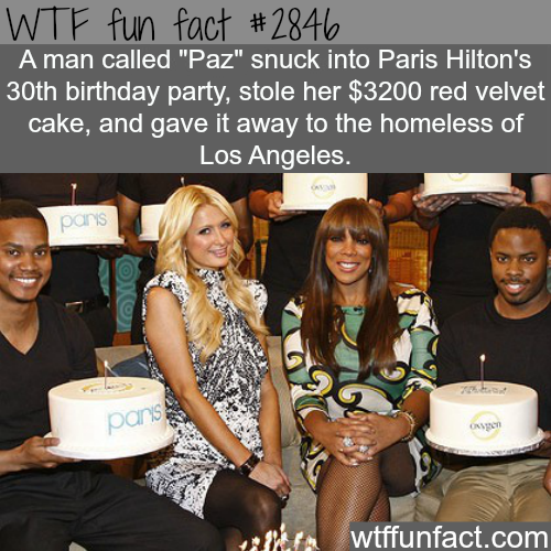 Paris Hilton's stolen birthday cake -  WTF fun facts