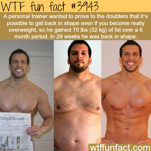 Personal trainer loses 70 lbs in 29 weeks - WTF fun facts