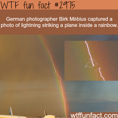 Photo of lightening striking a plane inside a rainbow -  WTF fun facts