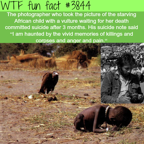 Picture of starving child stalked by vulture - WTF fun facts