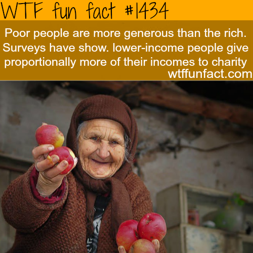 poor people are more generous than the rich.