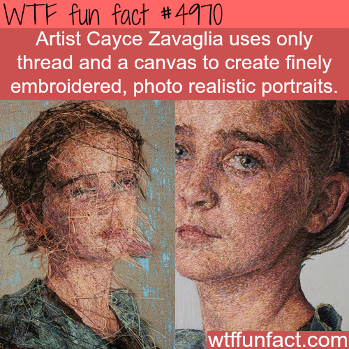 Portraits made using thread and canvas - WTF fun facts