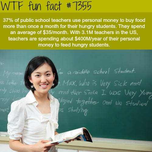 Public school teacher spend millions to feed hungry kids - WTF fun facts