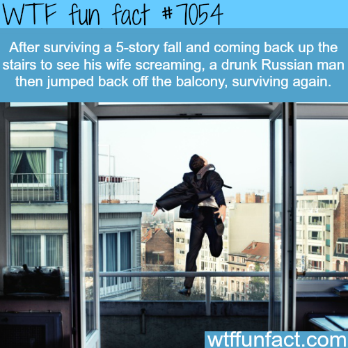 Russian man jumps of building
