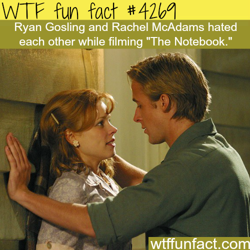 Ryan Gosling and Rachel McAdams hated eachother -  WTF fun facts