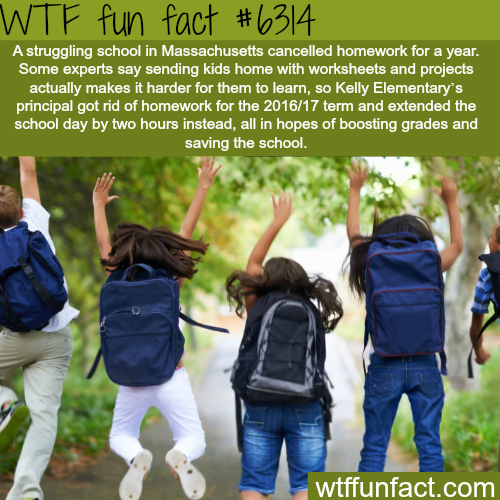 School in Massachusetts won't give homework to it's students - WTF fun facts