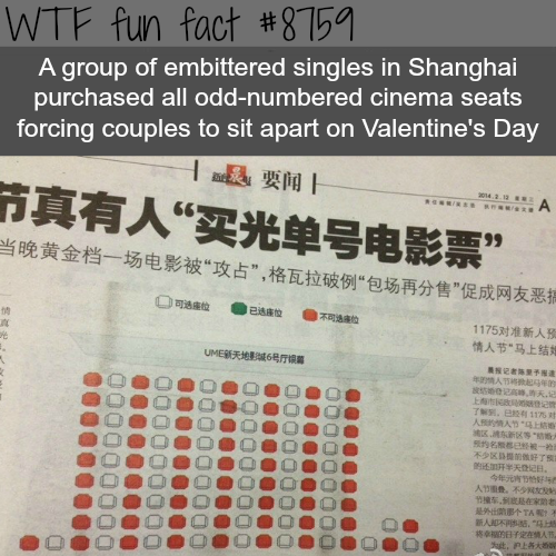 Shanghai singles bought every odd number seats on valentine's - WTF fun facts