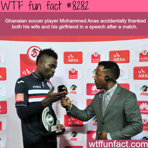 Soccer player thanks his wife and girlfriend in a speech - WTF fun facts