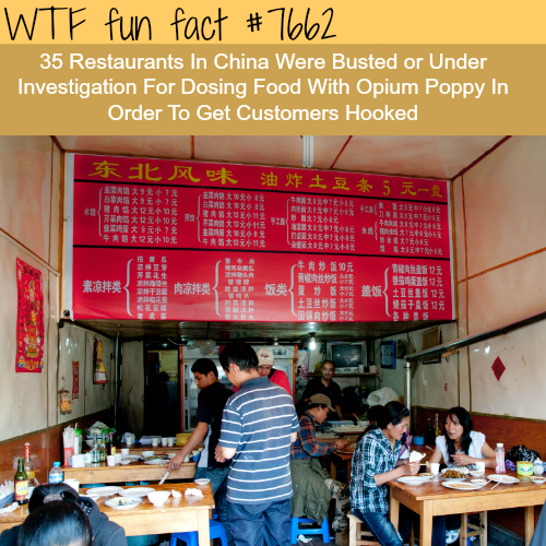 Some Restaurants in China are putting opium in food - WTF fun facts