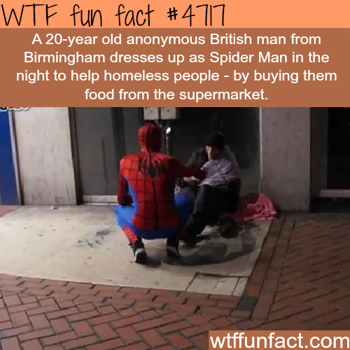 Spider Man feeds the homeless people in Birmingham - WTF fun facts