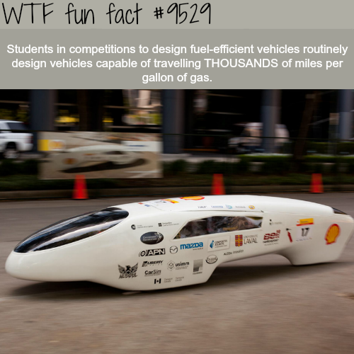 Students made vehiclesthat travel2500 miles per gallon - WTF fun fact