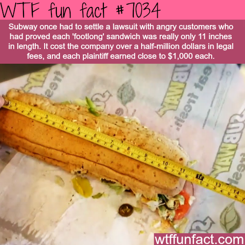 Subway's footlong - WTF fun facts