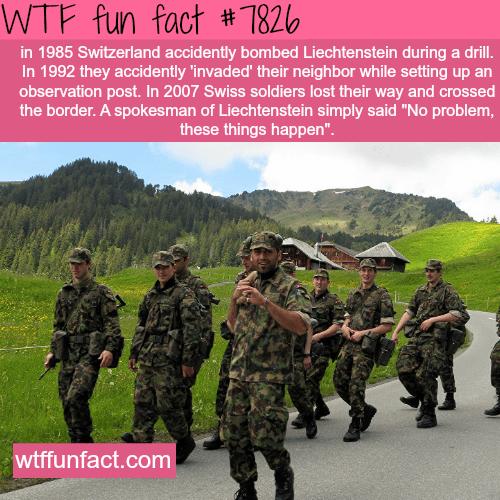 Switzerland accidentally invaded Liechtenstein - WTF fun facts
