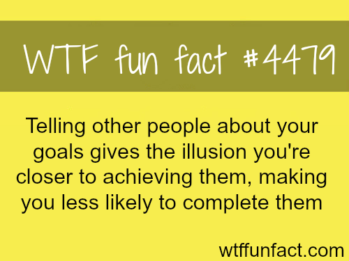 Telling people your goals -   WTF fun facts