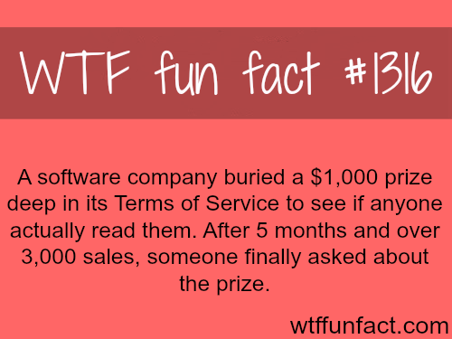 Terms of Service - software prize