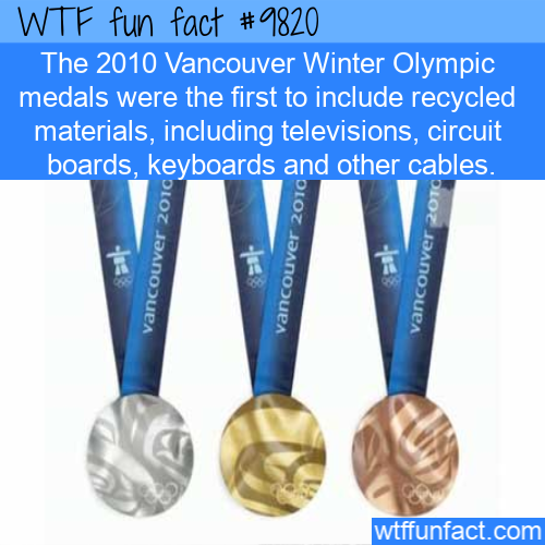 The 2010 Vancouver Winter Olympic medals were the first to include recycled materials