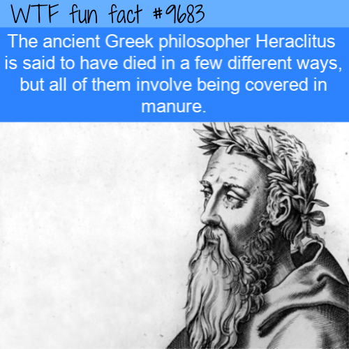 The ancient Greek philosopher Heraclitus is said to have died in a few different ways