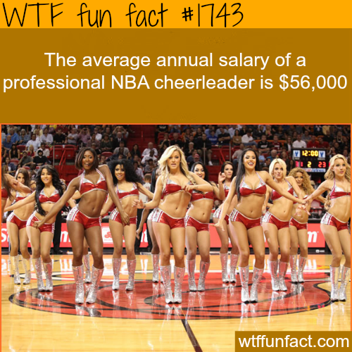 The average annual salary of a professional cheerleader - WTF fun facts
