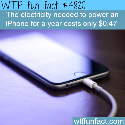 The cost of electricity to power your iPhone for a year - WTF fun facts