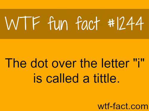 "The dot over the letter ""i"" is called a tittle."