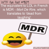 the equivalent to lol in french is mdr mort de