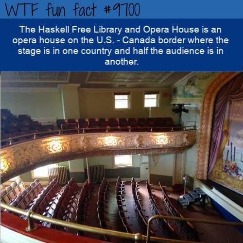 The Haskell Free Library and Opera House is an opera house on the U.S. - Canada border where the stage is in one country and half the audience is in another.