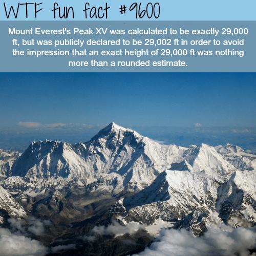 The Height of Mount Everest's Peak - WTF fun fact