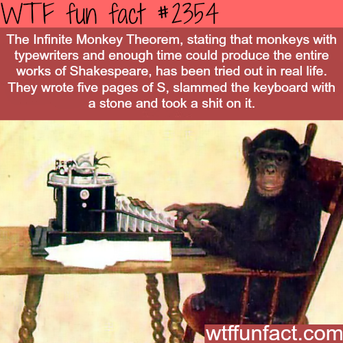 The infinite Monkey Theorem -WTF funfacts