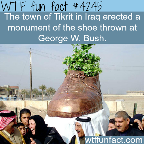 The monument of the shoe thrown at George W. Bush -  WTF fun facts