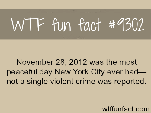 The most peaceful day in New York's history - WTF fun fact
