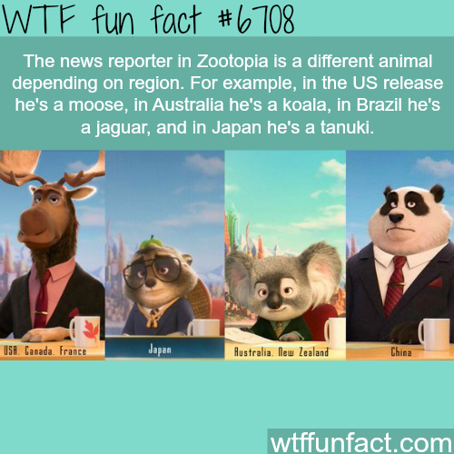 The news reporter in Zootopia is different in each region - WTF fun fact