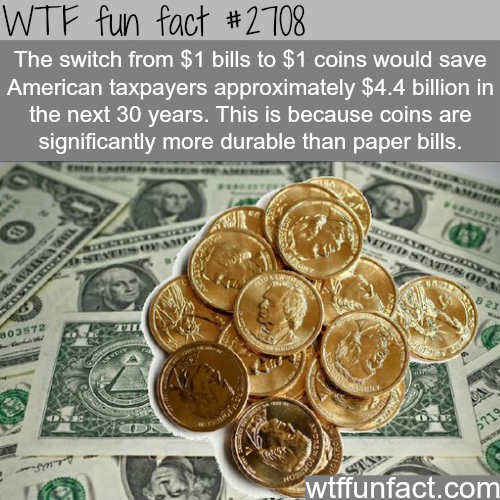 The switch from 1$ bill to coins -WTF funfacts